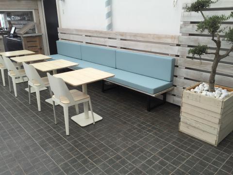 Colchonetas para banco de restaurante terraza Tapicera Brotons