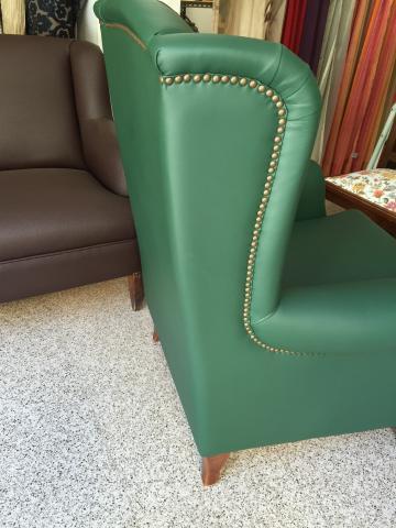 Tapizado de sill n orejero en piel sint tica olympia verde - Sillon orejero piel ...