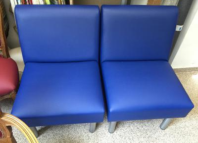 sillón modular en pvc vinílico azul ya terminado